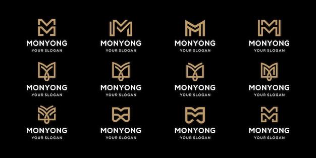 Satz der kreativen buchstabenmarkierungsmonogrammbuchstaben-m-logo-vorlage