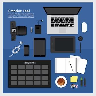 Satz der kreativen werkzeug-arbeitsplatz-vektor-illustration