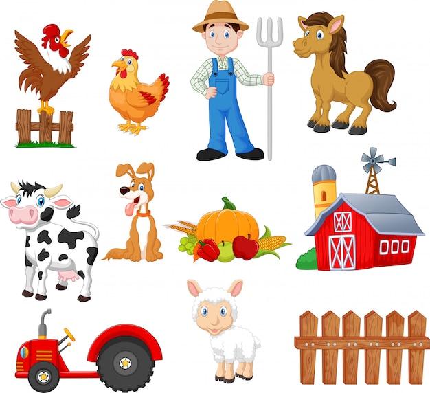 Satz der landwirtschaftskarikatur mit landwirt
