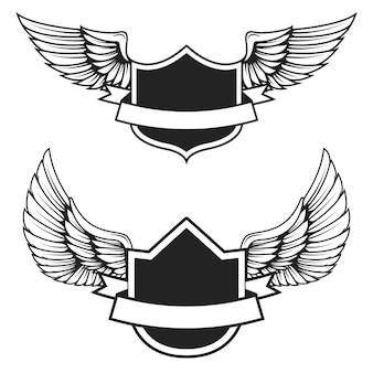 Satz der leeren embleme mit flügeln. elemente für, etikett, abzeichen, zeichen. illustration