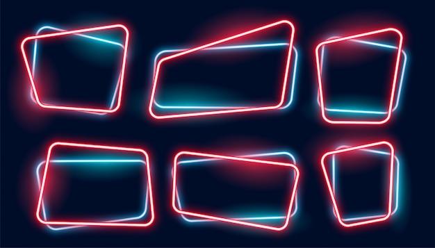 Satz der leeren glühenden neonrahmenfahne