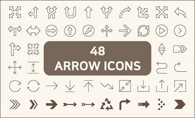 Satz der linie art mit 48 pfeil ikonen. enthält symbole wie wegweiser, pfeile, zeichen, gps-navigation und vieles mehr.