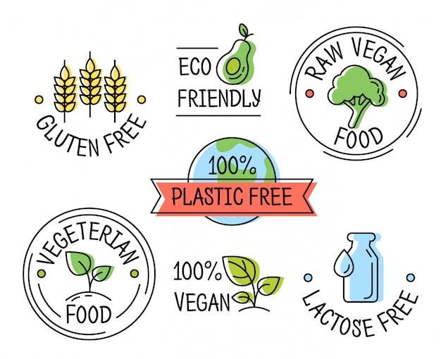 Satz der linie eco logoikonen, gluten, plastik, laktosefreie aufkleber, vegetarisches lebensmittel