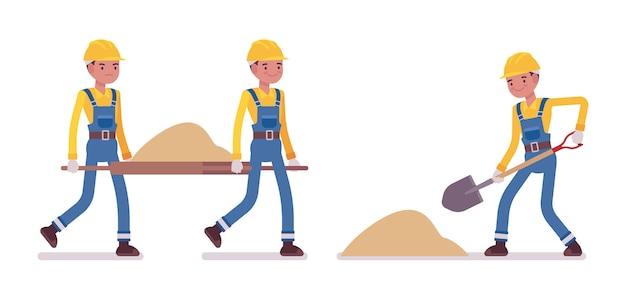 Satz der männlichen arbeitskraft arbeitend mit sand