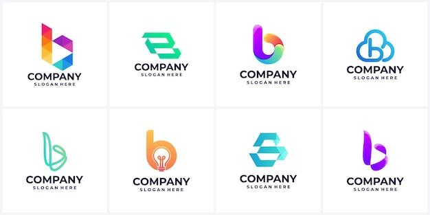 Satz der modernen abstrakten buchstaben b logo inspiration