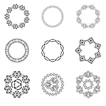 Satz der modischen geometrischen formhippie-rahmensammlung.