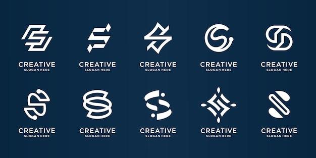 Satz der monogramm-entwurfsschablone des kreativen buchstabens
