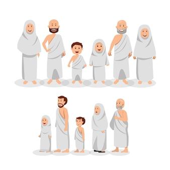 Satz der moslemischen familie, die ihram trägt