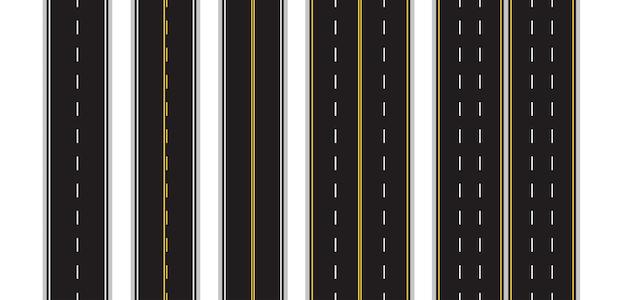 Satz der nahtlosen fahrbahnmarkierung auf weiß