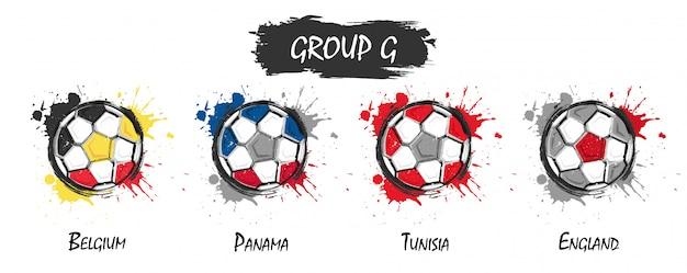 Satz der nationalen fußballteamgruppe g. realistische aquarellkunstfarbe mit beflecktem spritzen
