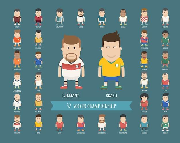 Satz der nationalen fußballteamuniform, fußballspieler