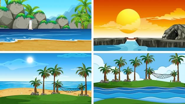 Satz der naturszene oder -hintergründe des tropischen ozeans mit stränden