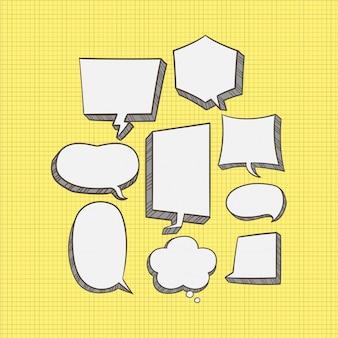 Satz der netten gezeichneten einfachen art der spracheblase hand