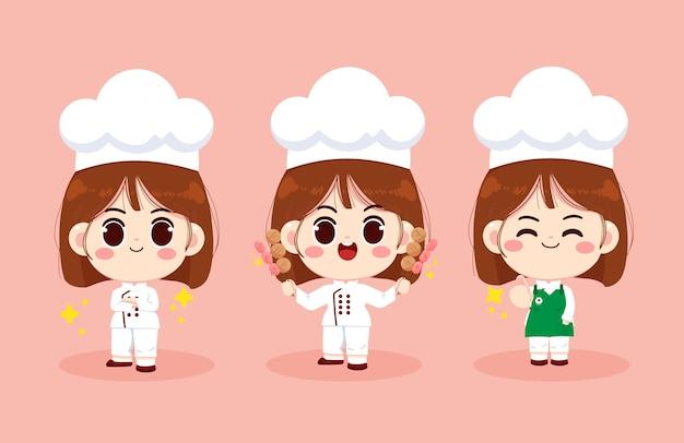 Satz der netten kochmädchen lächelnd in der uniform, die essen vorbereitet und fleischbällchen- und hotdogkarikaturkunstillustration hält