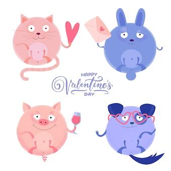 Satz der netten runden katze, schwein, kaninchenhund mit wenigem herzen, buchstabe, weinglas, gläser für valentinstag