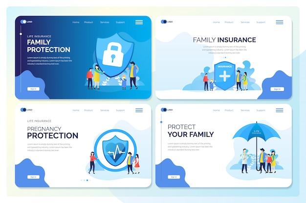Satz der netz-fahne für familienversicherungs-illustrationen