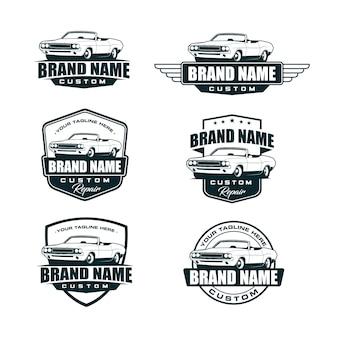 Satz der oldtimer-logo-vorlage