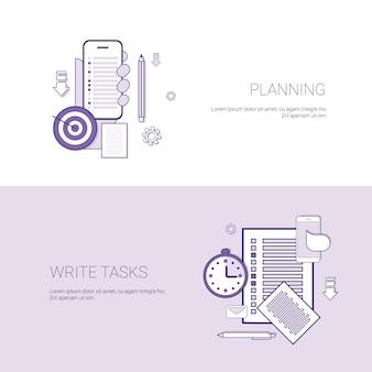 Satz der planung und schreiben aufgaben-fahnen-geschäfts-konzept-schablonen-hintergrund mit kopien-raum