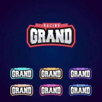 Satz der power voller grand racing typografie logo emblem design für t-shirt