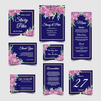 Satz der purpurroten Hochzeitseinladung mit dem Aquarell mit Blumen