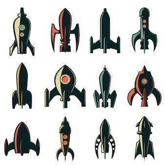Satz der raketensymbole. element für logo, etikett, emblem, zeichen, markenzeichen. illustration.