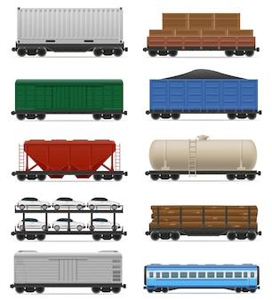 Satz der realistischen bahnwagenzug-vektorillustration