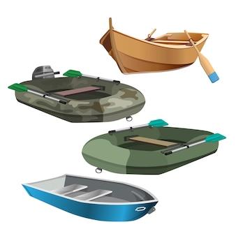 Satz der realistischen vektorillustration der boote lokalisiert auf weiß. angel- und schlauchboote mit ruder, gummi- und holzboot