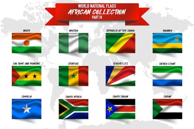 Satz der realistischen wehenden nationalflagge der afrikanischen länder auf der weltkarte. niger, nigeria, ruanda und andere