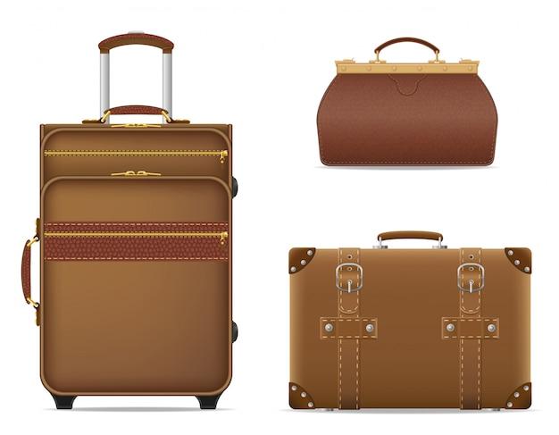 Satz der reisetaschen-vektorillustration