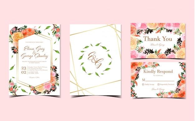 Satz der romantischen aquarellblumenhochzeits-einladungskarte