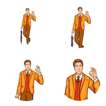 Satz der runden avataraikone der pop-art für benutzer von social networking, blogs, profilikonen
