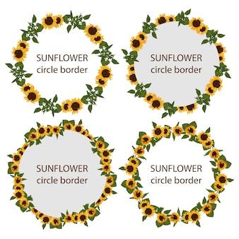 Satz der rustikalen sonnenblumenkreisgrenze