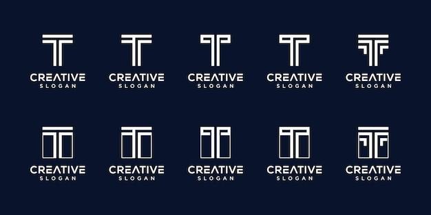 Satz der schablone des kreativen monogrammlogobuchstabens t Premium Vektoren