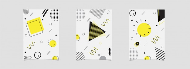 Satz der schablone oder des fliegers mit dem abstrakten geometrischen element verziert auf weiß.