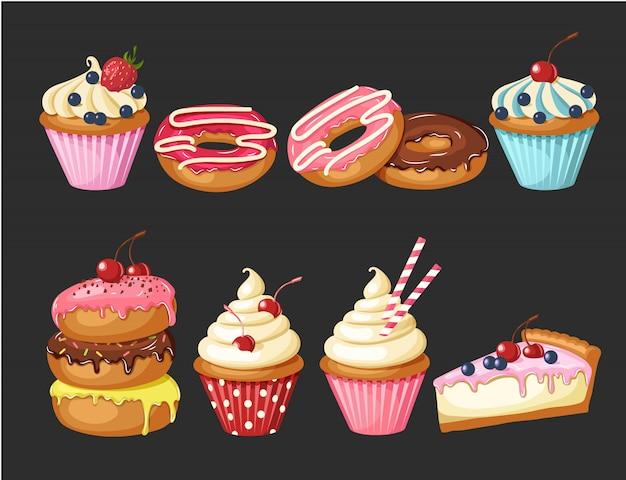 Satz der süßen bäckerei auf schwarzem. glasierte donuts, käsekuchen und cupcakes mit kirschen, erdbeeren und blaubeeren.