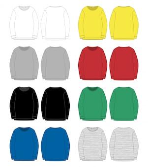 Satz der technischen skizze für mannsweatshirt. vorder- und rückansicht.