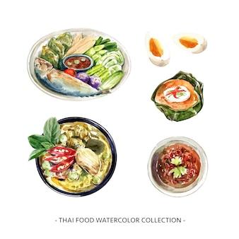 Satz der thailändischen nahrungsmittelsammlungsentwurf lokalisierte aquarellillustration.