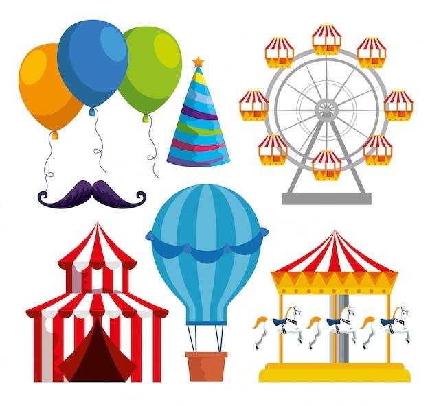 Satz der traditionellen dekoration des karnevals zur festivalfeier