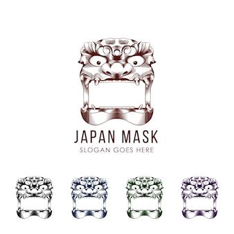 Satz der traditionellen japanischen dämonmasken-teufelillustration. flache farbe. isoliert auf weiß.