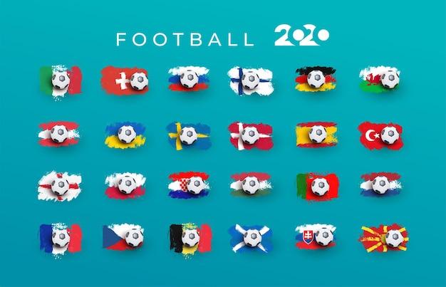 Satz der turnierflagge des europäischen fußballs 2020. euro 2020 länderflagge aus pinselstrichen gesetzt