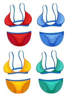 Satz der unterschiedlichen farbe des bikinis