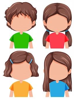 Satz der unterschiedlichen frisur des brunettemädchens