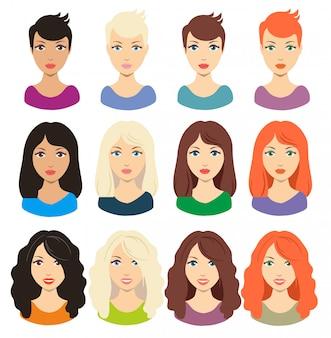 Satz der unterschiedlichen mädchenfrisur für mittleres und langes haar