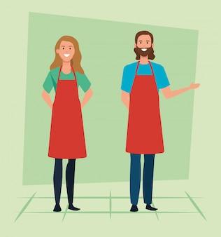 Satz der verkäuferin und des verkäufers mit tragendem schutzblech der frisur