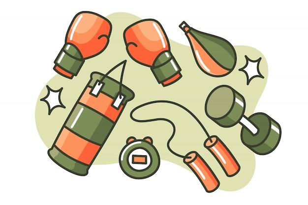 Satz der verpackenkarikaturillustration