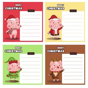 Satz der vielzahlweihnachtssparschwein-papieranmerkung