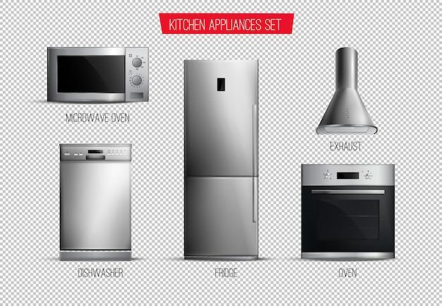Satz der vorderansicht der realistischen zeitgenössischen küchengeräte lokalisiert auf transparentem