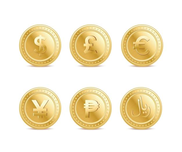 Satz der währung goldene finanzen münze icons