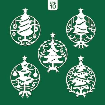 Satz der weihnachtsbaumschablone für laser- und plotterausschnitt.