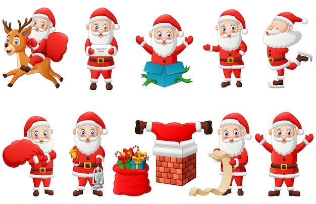 Satz der weihnachtsmann-zeichentrickfilm-figur lokalisiert auf weiß